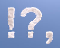 Question, exclamation and comma shape clouds