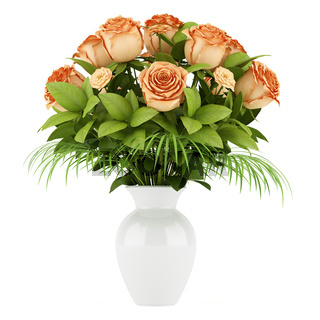 bouquet of orange roses in vase isolated on white background