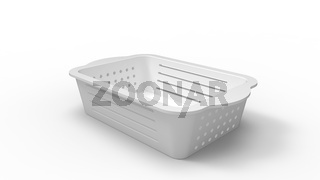 3D rendering of a plastic basket household item isolated on white studio background