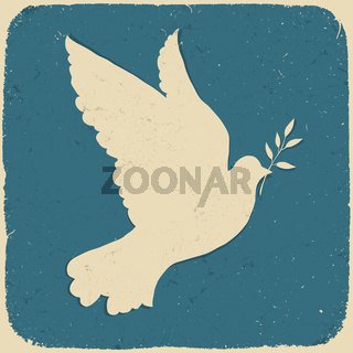 Dove of Peace. Retro styled illustration, vector, eps10.