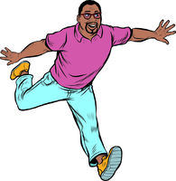 Black man in casual clothes running. Youth and movement. Energetic people