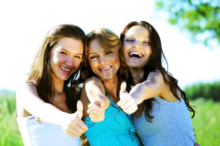 Success joy of girlfriends say hurray