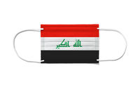 Flag of Iraq on a disposable surgical mask. White background
