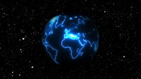 Planet earth with neon continents