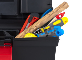 Set of construction tools in the box close up.