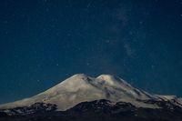 Stars at night and Mount Elbrus