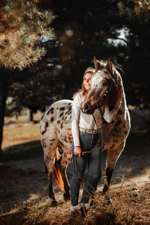 Beautiful young girl posing with her horse in the nature. Sunny autumn day.
