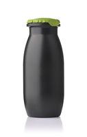 Small black unlabeled plastic drink bottle
