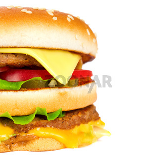 cheeseburger isolated on white