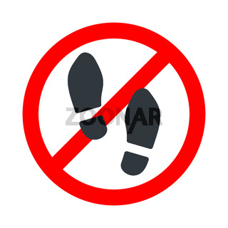 Shoes not allowed, step forbidden sign with man in shoes prints icon on white background