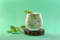 Icy green matcha latte.