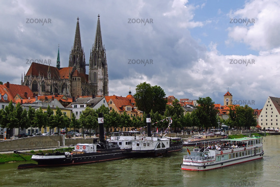 View to the cathedral Saint Peter in Regensburg