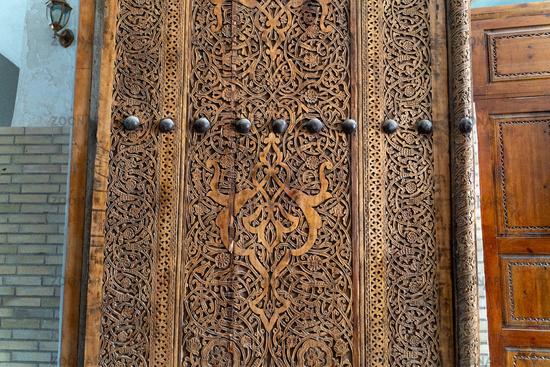 The front porch door in traditional uzbek house