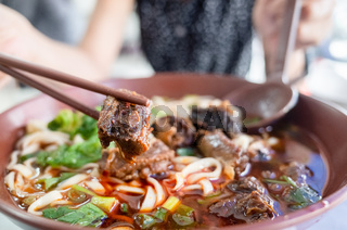 hot braised beef noodle soup