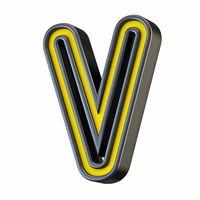 Yellow black outlined font Letter V 3D