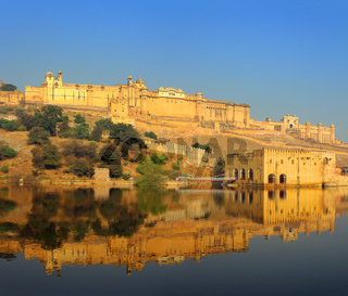 fort and lake in Jaipur India