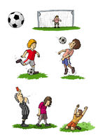Children playing football, illustration