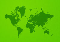 World map on green wall background