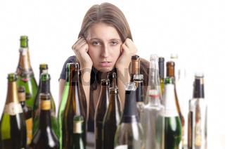 Junge Alkoholikerin