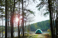 A tent at a waterfront campsite of Jordan Lake State Park at Poplar Point campground -- near Raleigh North Carolina