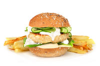 Fishburger with french fries on white