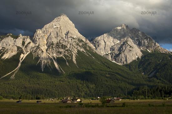 peaks Ehrwalder Sonnenspitze and Gruenstein,Tyrol