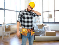 male worker or builder with neck pain at home