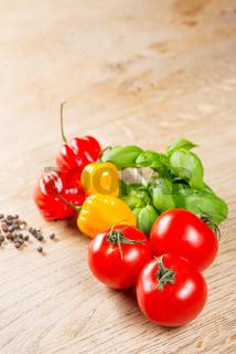 Habanero peppers tomato basilicum