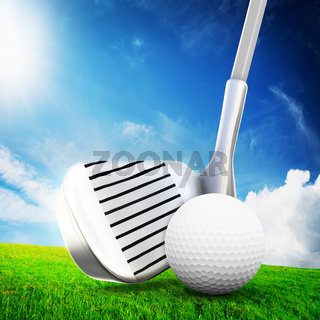 Playing golf. Ball on tee, a golf club