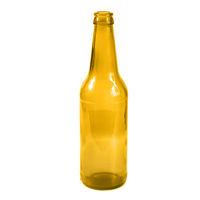 Open empty glass beer bottle