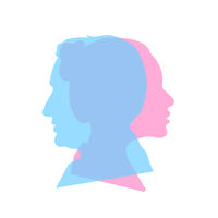 Detailed beautiful woman and man face profiles in one, relationship concept on white