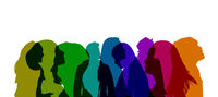 group of young people illustration, colorful portraits of young adults -