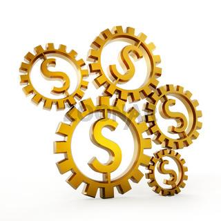 Cogwheels with dollar shape isolated on white background. 3D illustration
