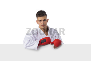 Man fighter with blank banner