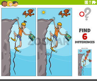 differences educational game with cartoon climber