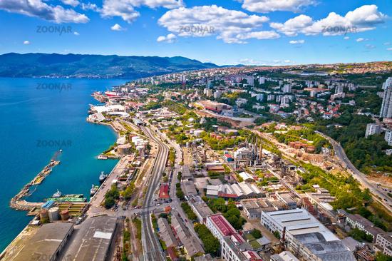 City of Rijeka industrial coastline aerial view