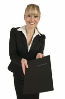Blonde woman presents her application documents