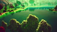 Cartoon Green Forest Landscape with Trees and lake