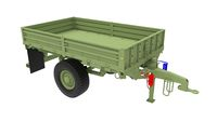3D rendering of a green carriage car trailer for transport isolated on white background