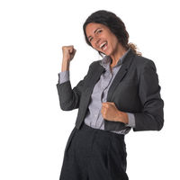 Excited happy smiling business woman