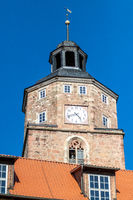 Historic tower with clock in the city Wasungen