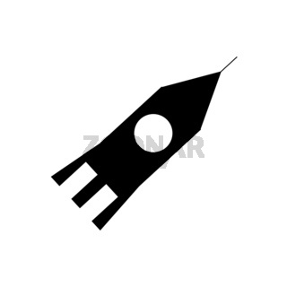 Silhouette image flying rocket ship