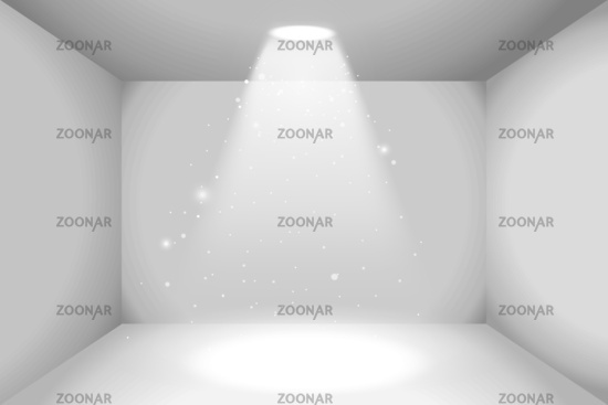 Realistic empty space of white box with light source