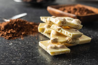 White nutty chocolate with hazelnuts.