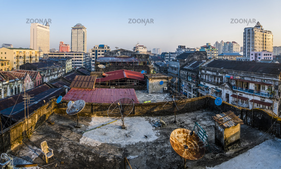 View over the roofs, Yangon, Myanmar, Asia