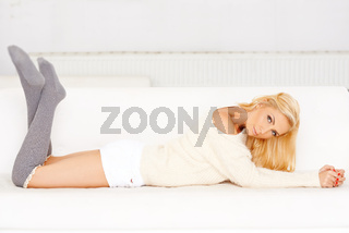 Elegant casual woman on a sofa