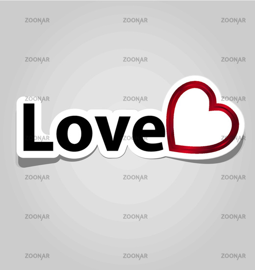 Label with love sign