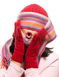 Attractive Woman With Colorful Scarf Over Eyes