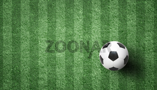 Soccer ball on green playground. Soccer concept
