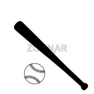 Silhouettes of baseball bat and ball. Symbol sport baseball.